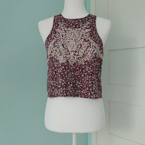 PPLA Floral Embroidered Crop Tank Top
